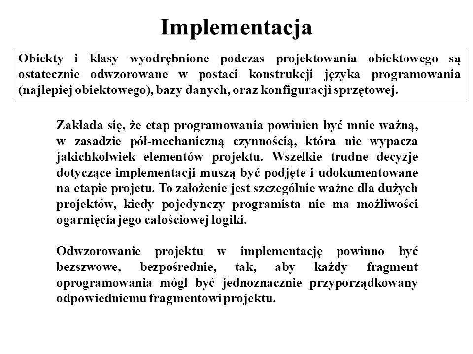 Implementacja Obiekty i klasy wyodrębnione podczas projektowania obiektowego są ostatecznie odwzorowane w postaci konstrukcji języka programowania (na