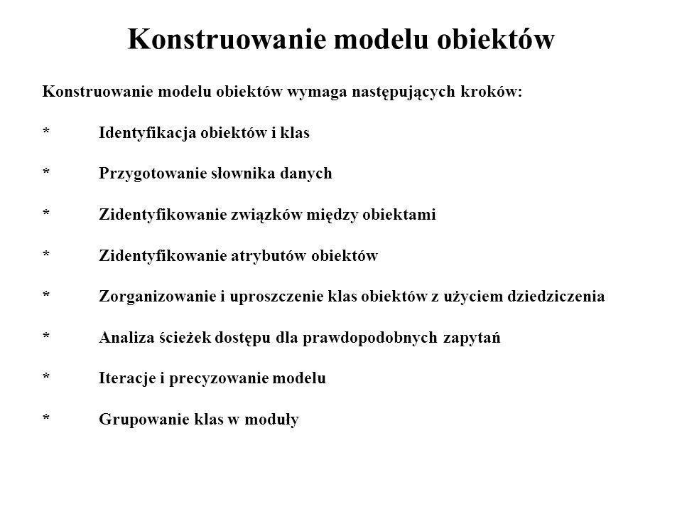 Konstruowanie modelu obiektów Konstruowanie modelu obiektów wymaga następujących kroków: *Identyfikacja obiektów i klas *Przygotowanie słownika danych