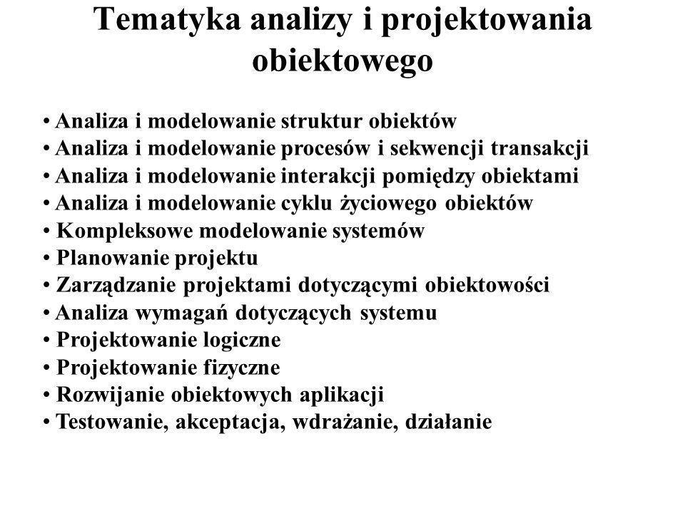 Tematyka analizy i projektowania obiektowego Analiza i modelowanie struktur obiektów Analiza i modelowanie procesów i sekwencji transakcji Analiza i m