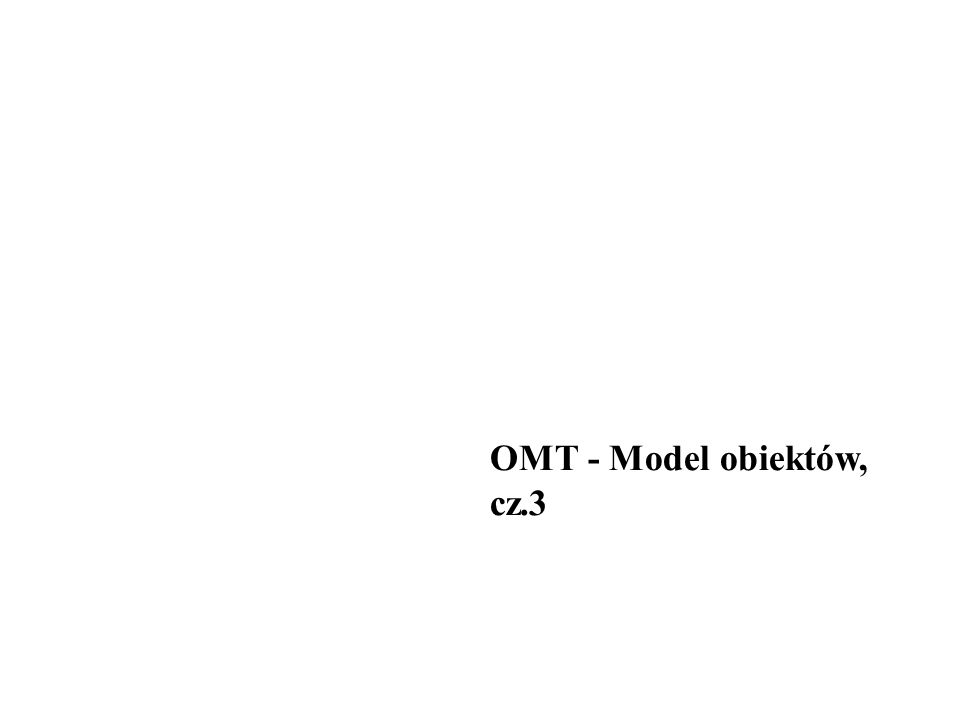 Podsumowanie notacji OMT(3) Operacja abstrakcyjna: Superklasa operacja {abstrakcyjna} Podklasa-1 operacja Podklasa-2 operacja Operacja jest abstrakcyjna w ramach superklasy Klasa-1Klasa-2 związek a jako klasa: Nazwa związek i atrybut powiązania...
