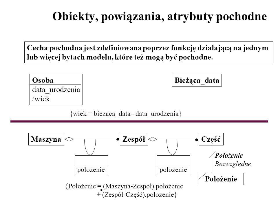 Obiekty, powiązania, atrybuty pochodne Cecha pochodna jest zdefiniowana poprzez funkcję działającą na jednym lub więcej bytach modelu, które też mogą