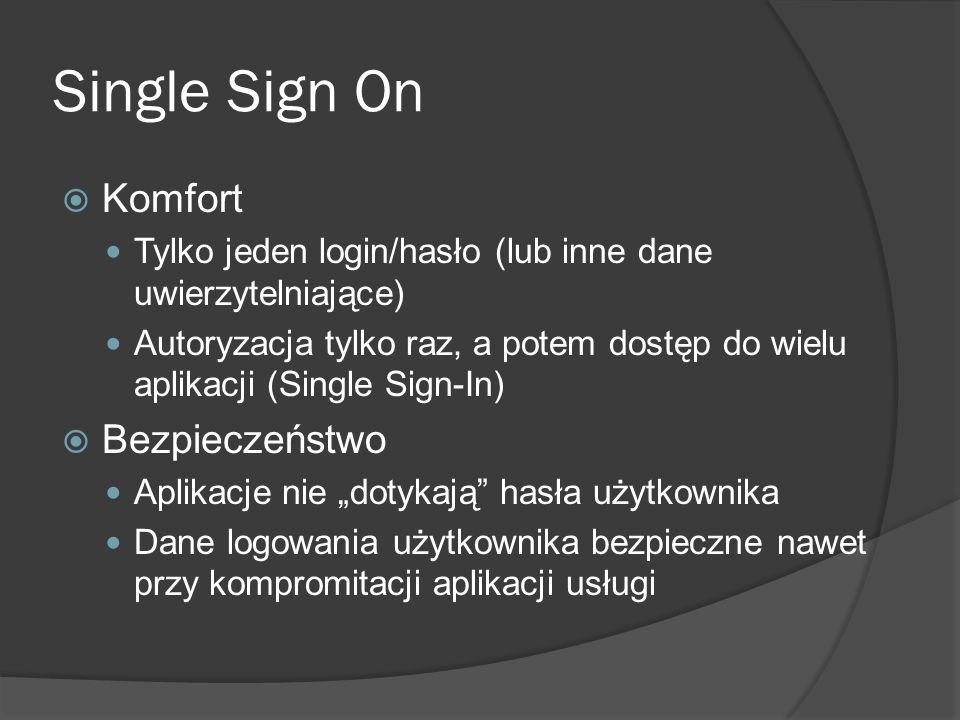 Rozwiązania online OpenID OAuth Facebook Google Twitter Microsoft Wiele innych http://en.wikipedia.org/wiki/Oauth Mozilla Persona ePUAP