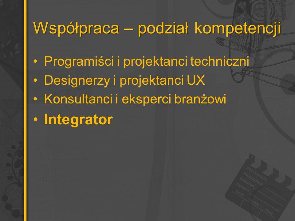 Współpraca – podział kompetencji Programiści i projektanci techniczni Designerzy i projektanci UX Konsultanci i eksperci branżowi Integrator