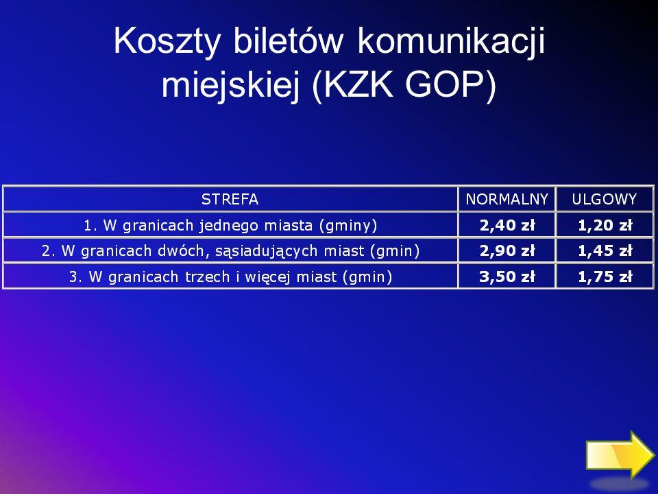 Koszty biletów komunikacji miejskiej (KZK GOP)
