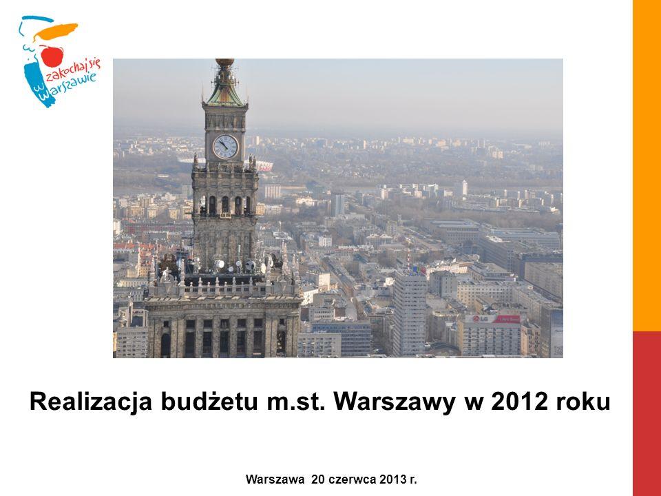 Realizacja budżetu m.st. Warszawy w 2012 roku Warszawa 20 czerwca 2013 r.