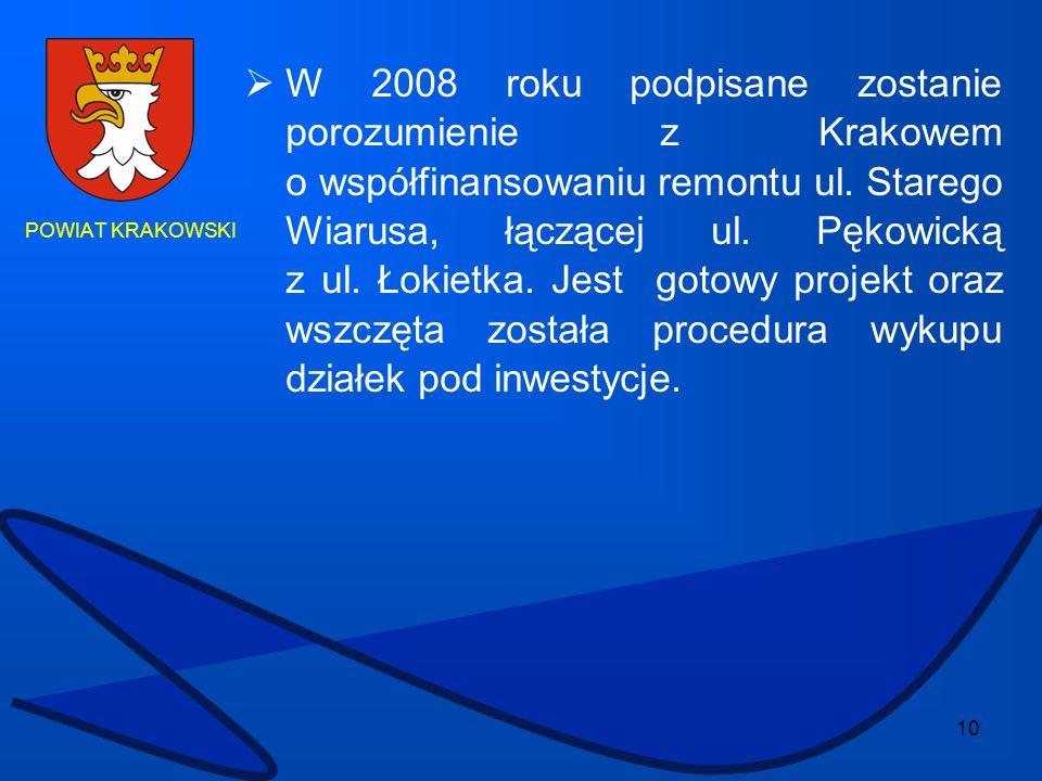 10 POWIAT KRAKOWSKI W 2008 roku podpisane zostanie porozumienie z Krakowem o współfinansowaniu remontu ul. Starego Wiarusa, łączącej ul. Pękowicką z u