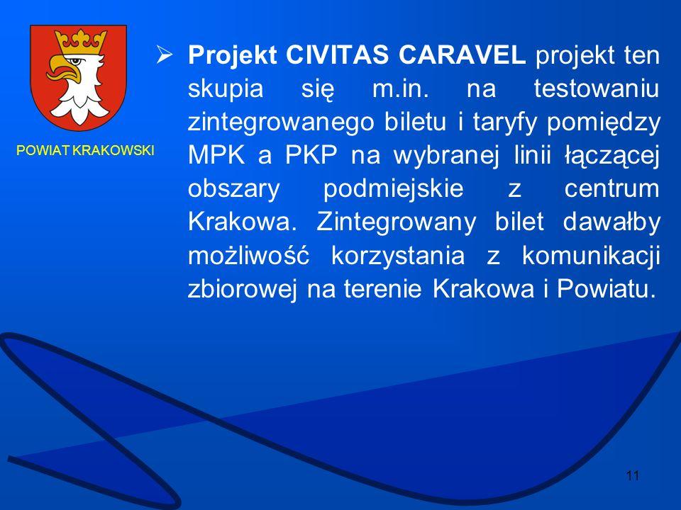 11 POWIAT KRAKOWSKI Projekt CIVITAS CARAVEL projekt ten skupia się m.in. na testowaniu zintegrowanego biletu i taryfy pomiędzy MPK a PKP na wybranej l