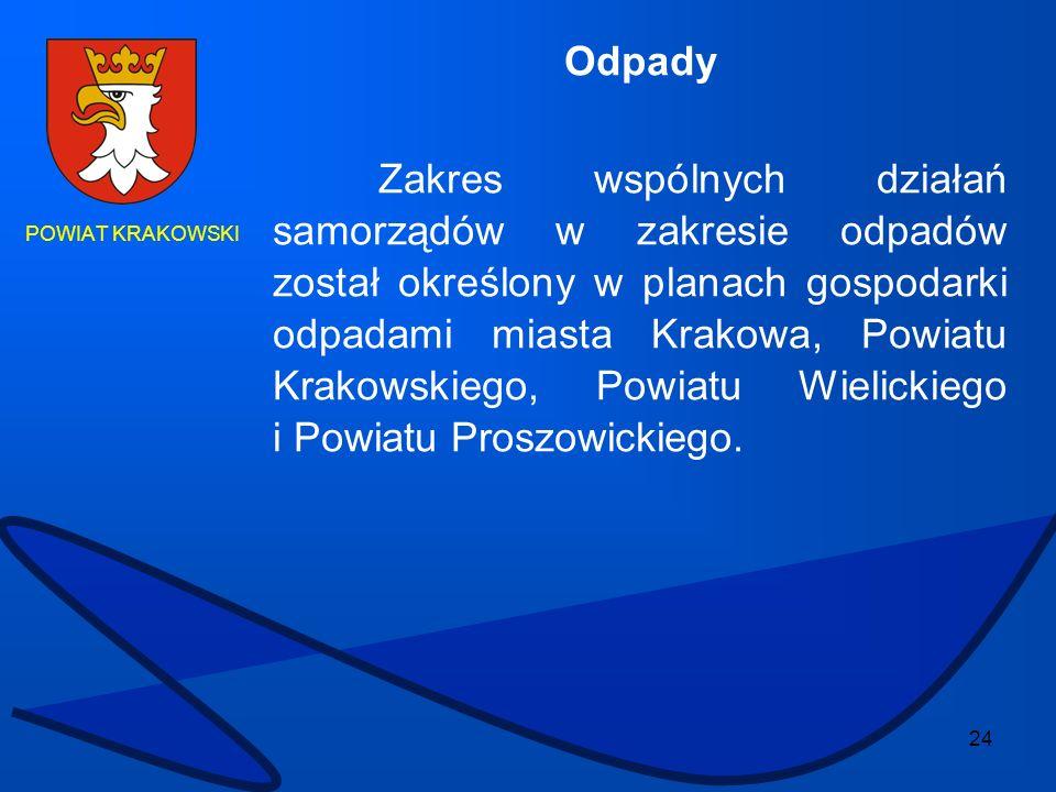 24 POWIAT KRAKOWSKI Odpady Zakres wspólnych działań samorządów w zakresie odpadów został określony w planach gospodarki odpadami miasta Krakowa, Powia