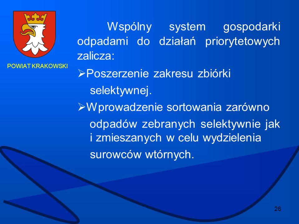 26 POWIAT KRAKOWSKI Wspólny system gospodarki odpadami do działań priorytetowych zalicza: Poszerzenie zakresu zbiórki selektywnej. Wprowadzenie sortow