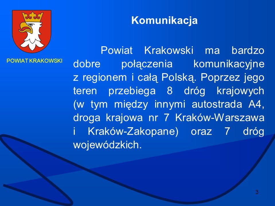 3 POWIAT KRAKOWSKI Powiat Krakowski ma bardzo dobre połączenia komunikacyjne z regionem i całą Polską. Poprzez jego teren przebiega 8 dróg krajowych (