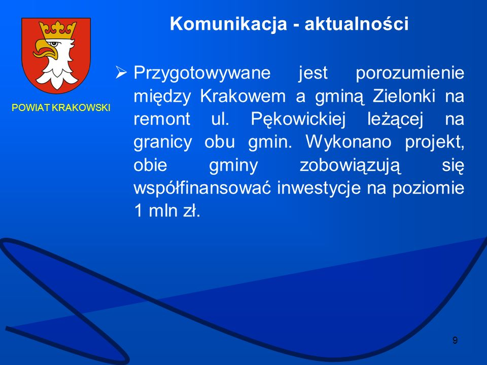 9 POWIAT KRAKOWSKI Komunikacja - aktualności Przygotowywane jest porozumienie między Krakowem a gminą Zielonki na remont ul. Pękowickiej leżącej na gr