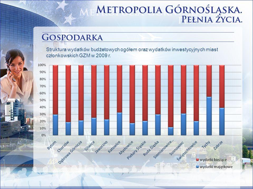 Struktura wydatków budżetowych ogółem oraz wydatków inwestycyjnych miast członkowskich GZM w 2009 r.