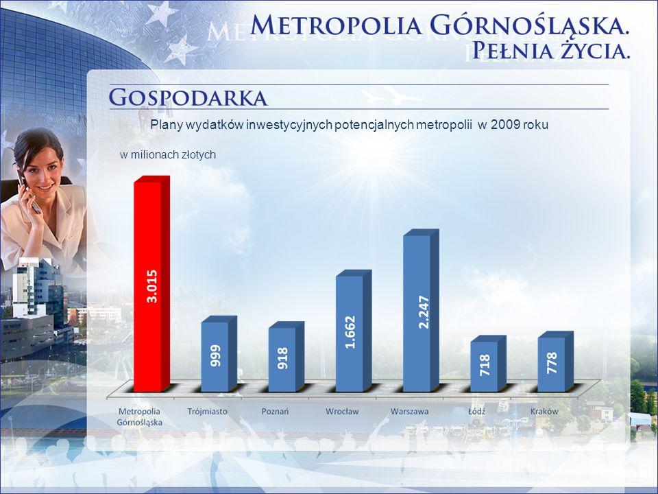 Plany wydatków inwestycyjnych potencjalnych metropolii w 2009 roku w milionach złotych