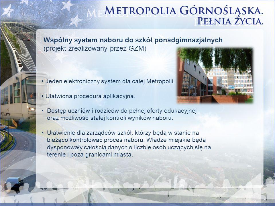 Wspólny system naboru do szkół ponadgimnazjalnych (projekt zrealizowany przez GZM) Jeden elektroniczny system dla całej Metropolii. Ułatwiona procedur