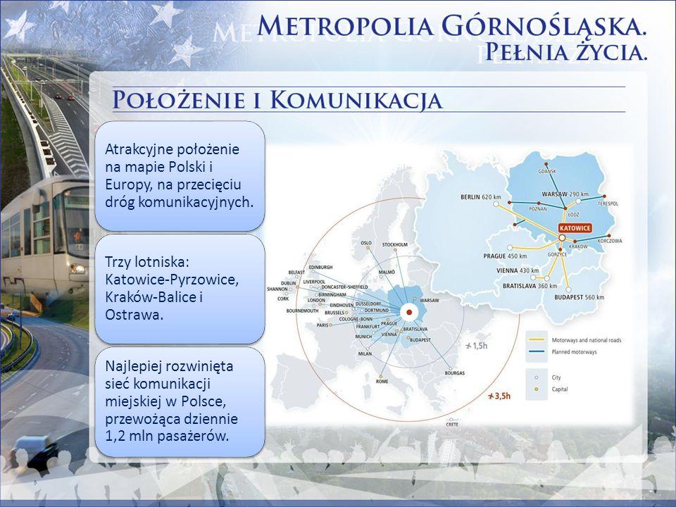 Atrakcyjne położenie na mapie Polski i Europy, na przecięciu dróg komunikacyjnych. Trzy lotniska: Katowice-Pyrzowice, Kraków-Balice i Ostrawa. Najlepi