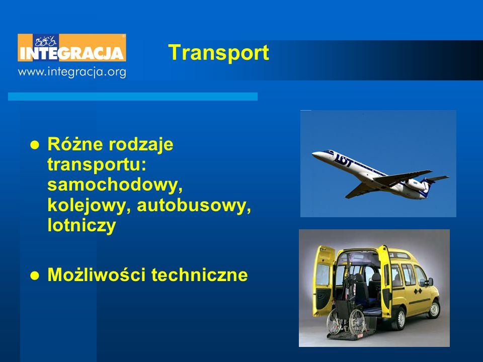 Transport Różne rodzaje transportu: samochodowy, kolejowy, autobusowy, lotniczy Możliwości techniczne