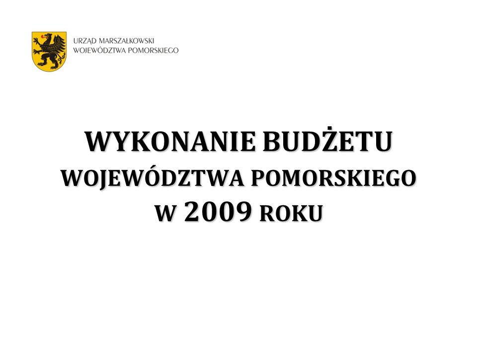 WYKONANIE BUDŻETU WOJEWÓDZTWA POMORSKIEGO W 2009 ROKU