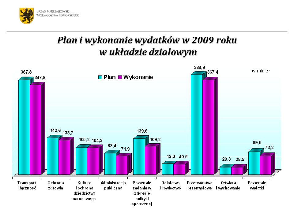 Plan i wykonanie wydatków w 2009 roku w układzie działowym