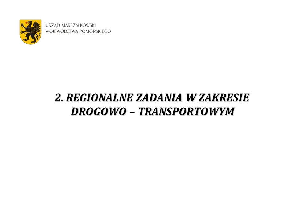 2. REGIONALNE ZADANIA W ZAKRESIE DROGOWO – TRANSPORTOWYM 2. REGIONALNE ZADANIA W ZAKRESIE DROGOWO – TRANSPORTOWYM