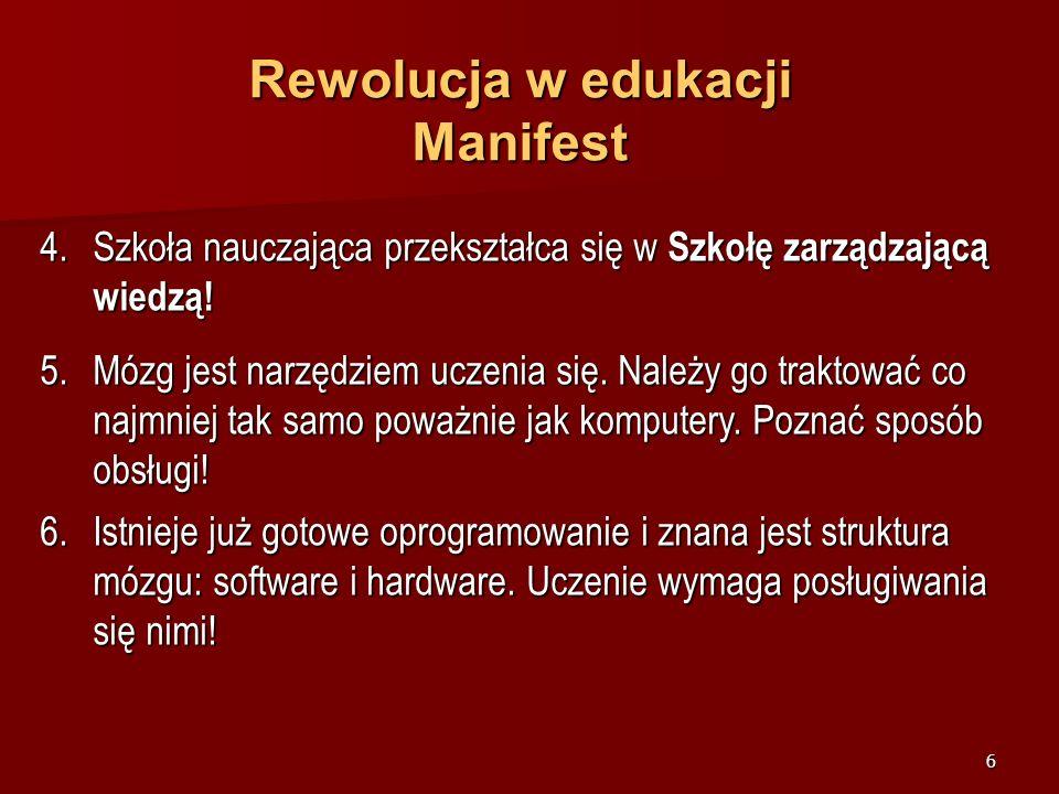 5 Rewolucja w edukacji Manifest 1.Rewolucja w edukacji już się rozpoczęła. Nie słyszysz odgłosów werbli? Pierwsi buntownicy zdobywają barykady. Możesz