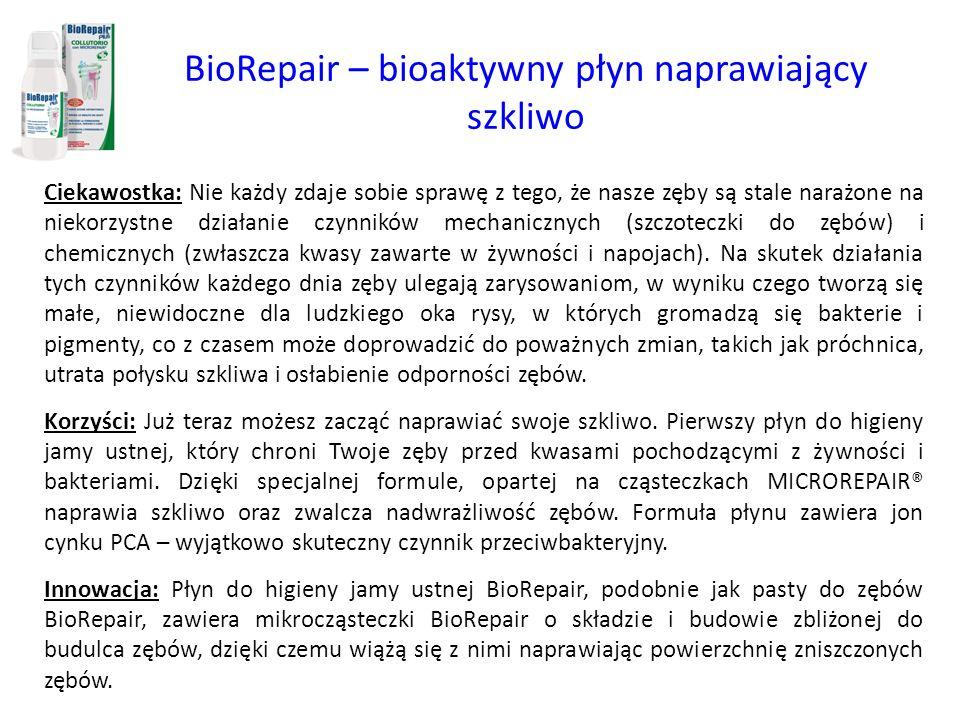 BioRepair – bioaktywny płyn naprawiający szkliwo Ciekawostka: Nie każdy zdaje sobie sprawę z tego, że nasze zęby są stale narażone na niekorzystne dzi