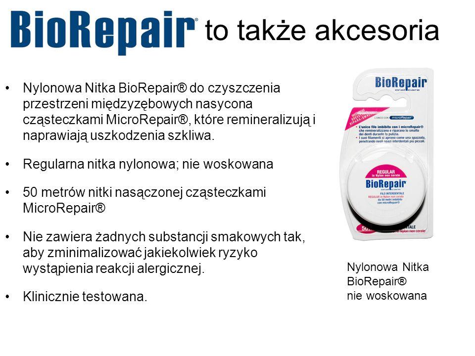 to także akcesoria Nylonowa Nitka BioRepair® do czyszczenia przestrzeni międzyzębowych nasycona cząsteczkami MicroRepair®, które remineralizują i napr