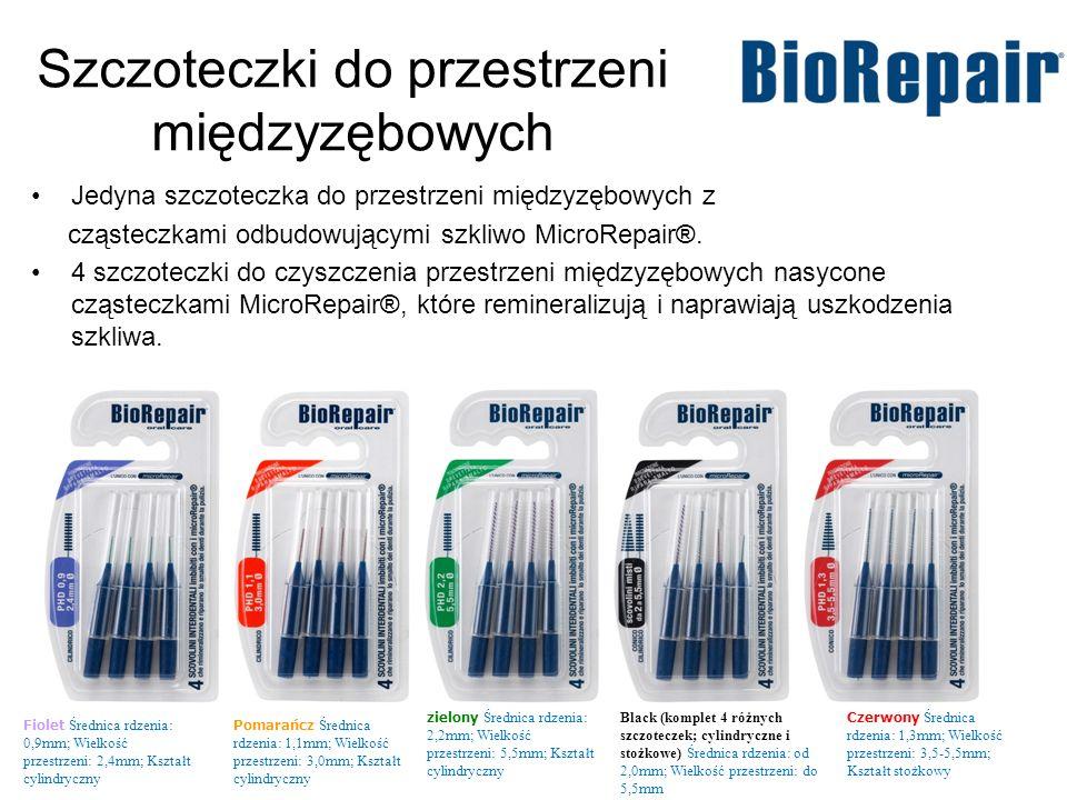 Szczoteczki do przestrzeni międzyzębowych Jedyna szczoteczka do przestrzeni międzyzębowych z cząsteczkami odbudowującymi szkliwo MicroRepair®. 4 szczo