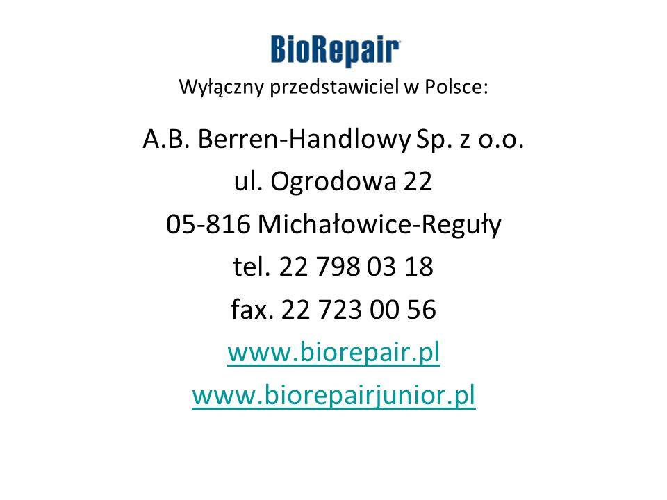 Wyłączny przedstawiciel w Polsce: A.B. Berren-Handlowy Sp. z o.o. ul. Ogrodowa 22 05-816 Michałowice-Reguły tel. 22 798 03 18 fax. 22 723 00 56 www.bi