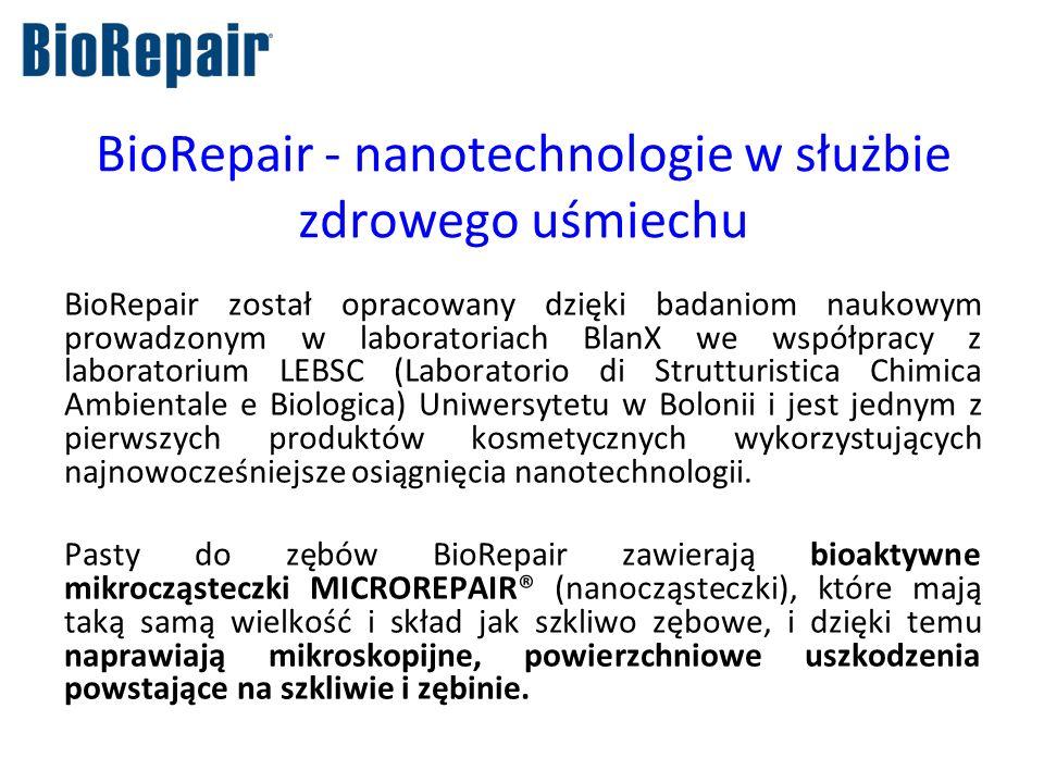 BioRepair - nanotechnologie w służbie zdrowego uśmiechu BioRepair został opracowany dzięki badaniom naukowym prowadzonym w laboratoriach BlanX we wspó
