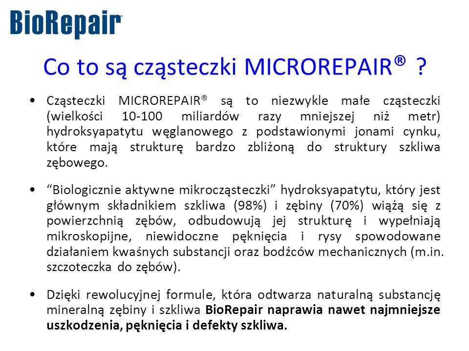 Co to są cząsteczki MICROREPAIR ® ? Cząsteczki MICROREPAIR® są to niezwykle małe cząsteczki (wielkości 10-100 miliardów razy mniejszej niż metr) hydro