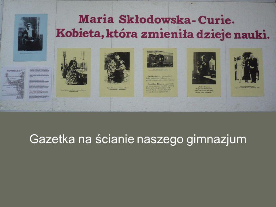Gazetka na ścianie naszego gimnazjum