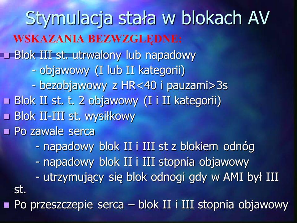 Stymulacja stała w blokach AV Blok III st. utrwalony lub napadowy Blok III st. utrwalony lub napadowy - objawowy (I lub II kategorii) - objawowy (I lu