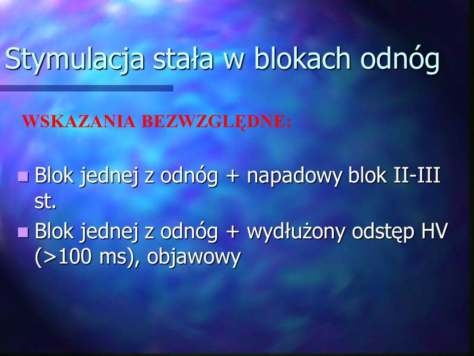Stymulacja stała w blokach odnóg Blok jednej z odnóg + napadowy blok II-III st. Blok jednej z odnóg + napadowy blok II-III st. Blok jednej z odnóg + w
