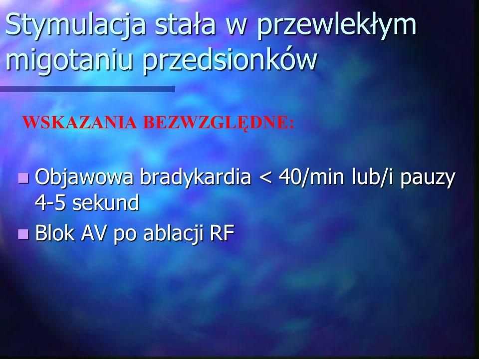 Stymulacja stała w przewlekłym migotaniu przedsionków Objawowa bradykardia < 40/min lub/i pauzy 4-5 sekund Objawowa bradykardia < 40/min lub/i pauzy 4