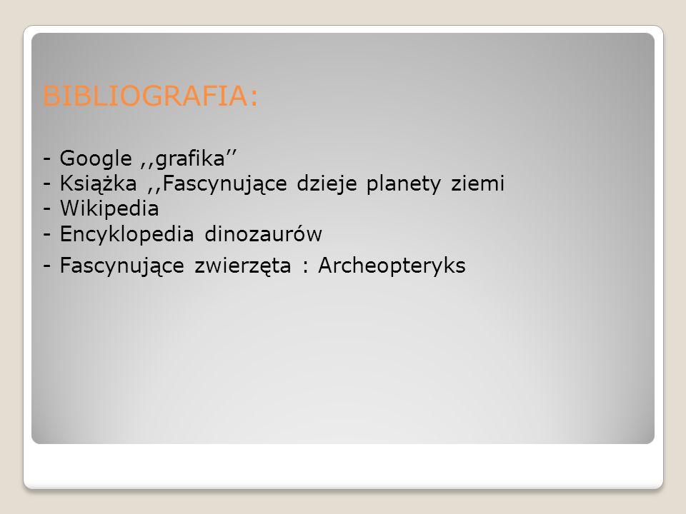 BIBLIOGRAFIA: - Google,,grafika - Książka,,Fascynujące dzieje planety ziemi - Wikipedia - Encyklopedia dinozaurów - Fascynujące zwierzęta : Archeopter