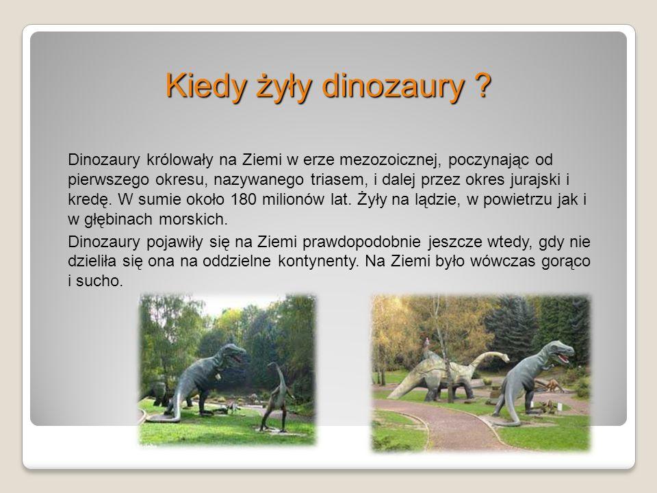 Kiedy żyły dinozaury ? Dinozaury królowały na Ziemi w erze mezozoicznej, poczynając od pierwszego okresu, nazywanego triasem, i dalej przez okres jura