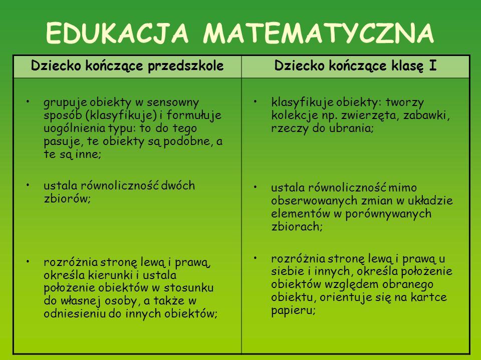 EDUKACJA MATEMATYCZNA Dziecko kończące przedszkoleDziecko kończące klasę I grupuje obiekty w sensowny sposób (klasyfikuje) i formułuje uogólnienia typ