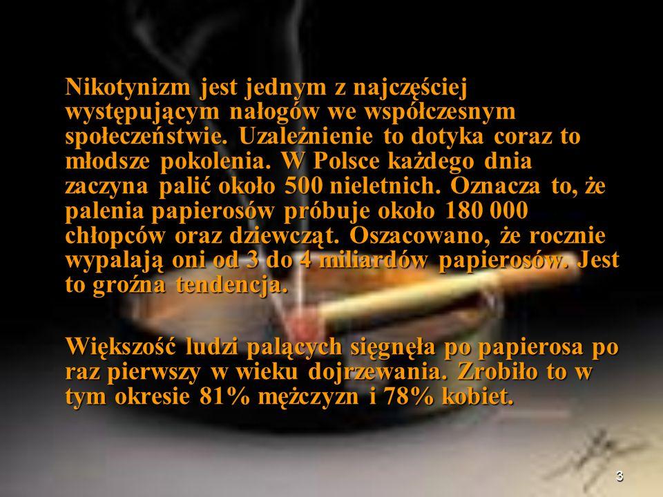 3 Nikotynizm jest jednym z najczęściej występującym nałogów we współczesnym społeczeństwie. Uzależnienie to dotyka coraz to młodsze pokolenia. W Polsc