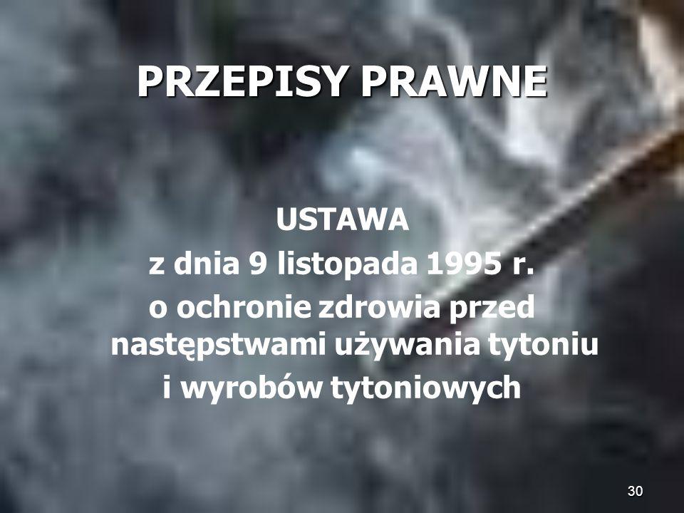 30 PRZEPISY PRAWNE USTAWA z dnia 9 listopada 1995 r. o ochronie zdrowia przed następstwami używania tytoniu i wyrobów tytoniowych
