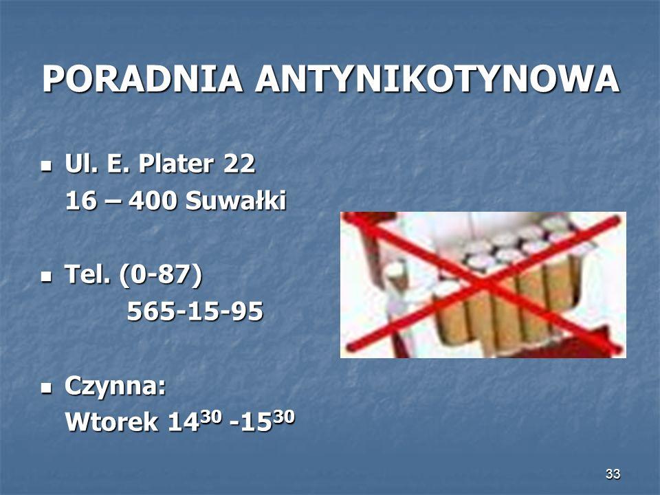 33 PORADNIA ANTYNIKOTYNOWA Ul. E. Plater 22 Ul. E. Plater 22 16 – 400 Suwałki Tel. (0-87) Tel. (0-87)565-15-95 Czynna: Czynna: Wtorek 14 30 -15 30
