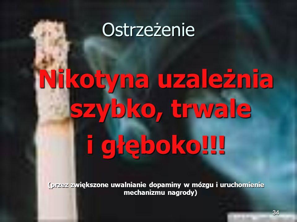 34 Ostrzeżenie Nikotyna uzależnia szybko, trwale i głęboko!!! (przez zwiększone uwalnianie dopaminy w mózgu i uruchomienie mechanizmu nagrody)