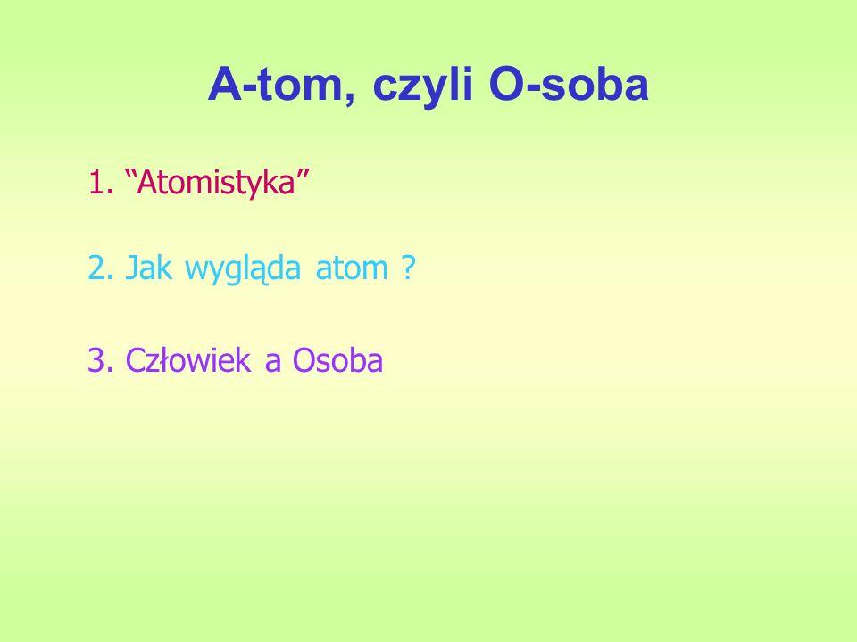 A-tom, czyli O-soba 1. Atomistyka 2. Jak wygląda atom ? 3. Człowiek a Osoba