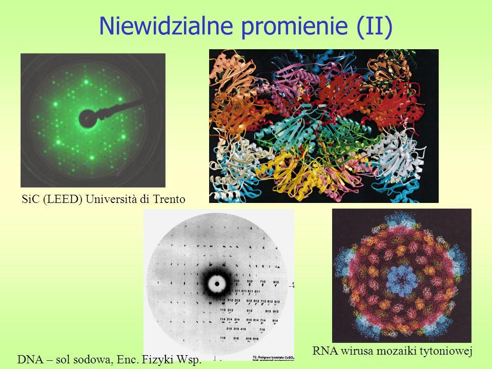 Niewidzialne promienie (II) SiC (LEED) Università di Trento RNA wirusa mozaiki tytoniowej DNA – sol sodowa, Enc. Fizyki Wsp.