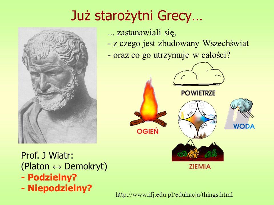 Już starożytni Grecy…... zastanawiali się, - z czego jest zbudowany Wszechświat - oraz co go utrzymuje w całości? Prof. J Wiatr: (Platon Demokryt) - P