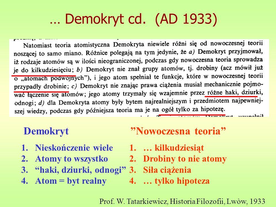 … Demokryt cd. (AD 1933) Prof. W. Tatarkiewicz, Historia Filozofii, Lwòw, 1933 1.Nieskończenie wiele 2.Atomy to wszystko 3.haki, dziurki, odnogi 4.Ato