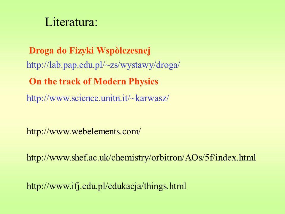 Literatura: http://www.webelements.com/ http://www.shef.ac.uk/chemistry/orbitron/AOs/5f/index.html http://www.ifj.edu.pl/edukacja/things.html http://w