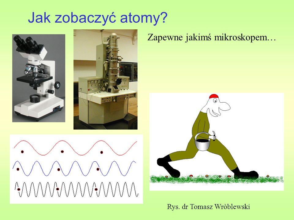 Jak zobaczyć atomy? Rys. dr Tomasz Wròblewski Zapewne jakimś mikroskopem…