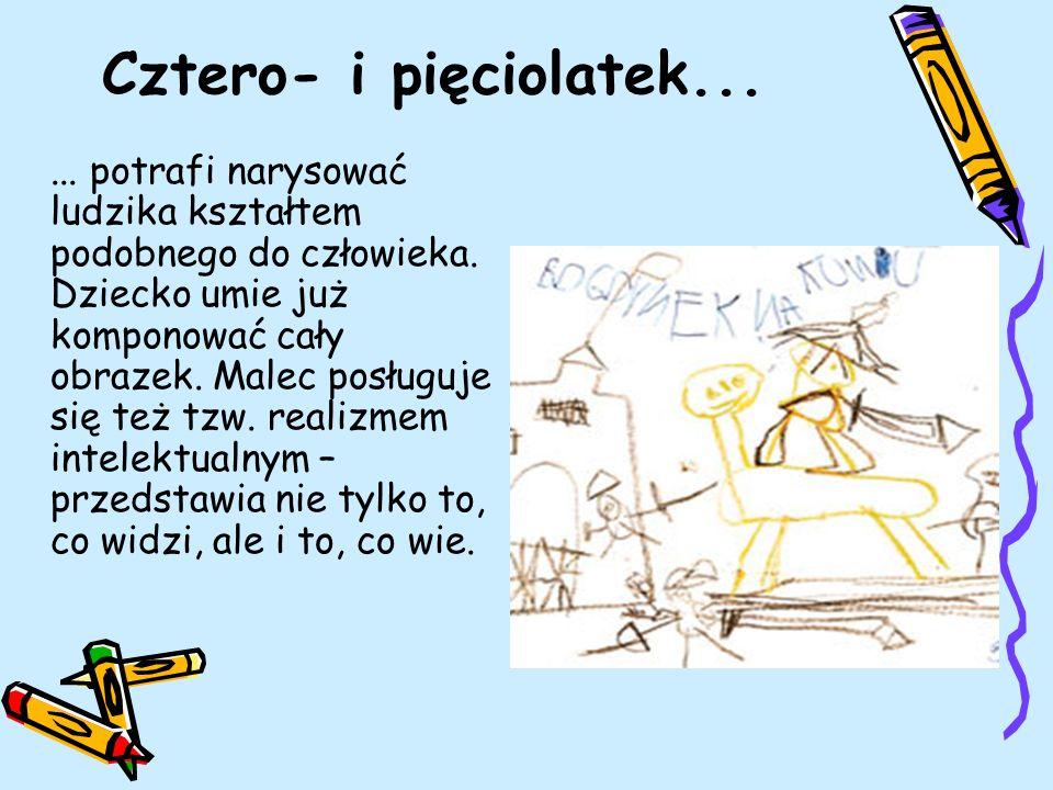 Cztero- i pięciolatek...... potrafi narysować ludzika kształtem podobnego do człowieka. Dziecko umie już komponować cały obrazek. Malec posługuje się