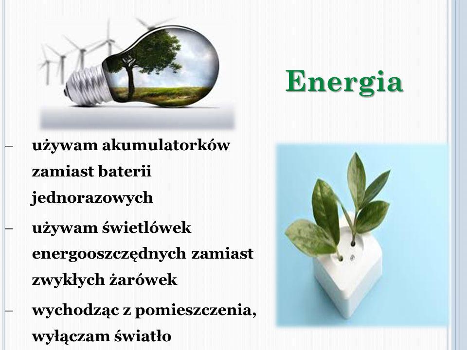 używam akumulatorków zamiast baterii jednorazowych używam świetlówek energooszczędnych zamiast zwykłych żarówek wychodząc z pomieszczenia, wyłączam św