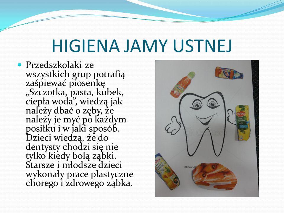 HIGIENA JAMY USTNEJ Przedszkolaki ze wszystkich grup potrafią zaśpiewać piosenkę Szczotka, pasta, kubek, ciepła woda, wiedzą jak należy dbać o zęby, ż